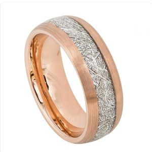 Other - Rose gold with silver inlay tungsten ring